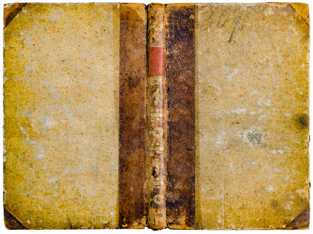 Old open book cover - worn scratched textured natural paper, brown leather spine, golden abstract ornaments and empty red label - circa 1810 - isolated on white Reklamní fotografie