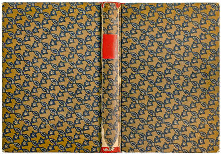 Vintage open book cover with floral pattern and empty label on damaged spine - circa 1909 Reklamní fotografie