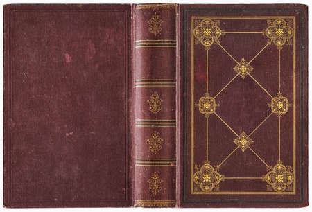 Old open book cover - circa 1889 - isolated on white - perfect in detail - XL size