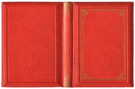 Old open book cover - circa 1895, isolated on white, XL size