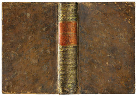 Old open book - leather cover - circa 1775 - isolated on white - perfect in detail! - XL size Reklamní fotografie