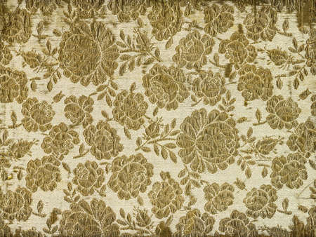 Vintage fabric embroidered with gold thread - floral pattern - XL size 版權商用圖片