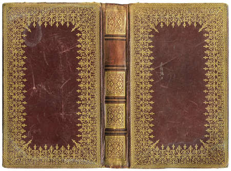 Old open book - leather cover - circa 1895 - perfect in detail! - XL size