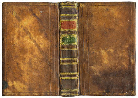 Old open book - leather cover - circa 1776 - isolated on white - perfect in detail! - XL size