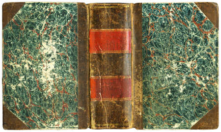 Old open book cover with leather spine - circa 1825 - isolated on white - XL size Reklamní fotografie