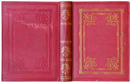 Old open book cover - circa 1885 - isolated on white