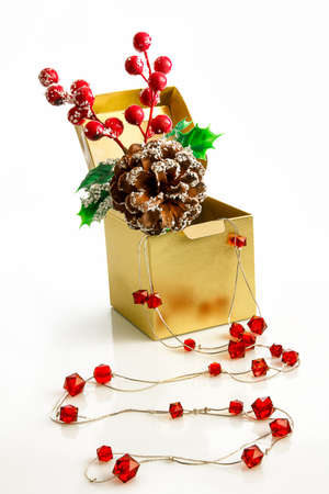 snowcovered: a surprise box with beads and a snow-covered branch of berries with a cone Stock Photo