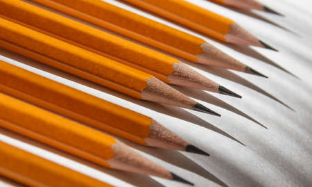 secretarial: pencils and shadows on the paper Stock Photo