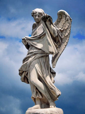sudarium: statue Angel with the Sudarium on the Ponte SantAngelo in the sky background, Italy, Rome Stock Photo
