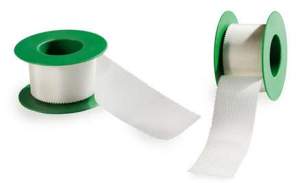 elasticity: rollo de cinta adhesiva médica, aislante en un fondo blanco