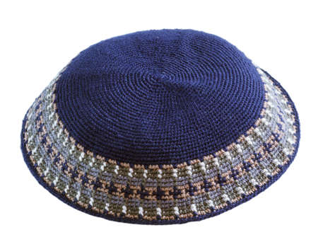 kippah: traditional  knitted  jewish male headwear kippa Stock Photo