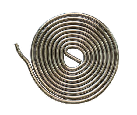 tin soldering wire, top view,  isolated on a white background