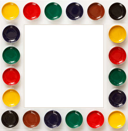 Frame of colorful school watercolors Stock Photo