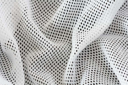 breathable: wrinkled white mesh sport fabric  with folds