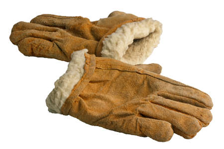warm old dirty gloves with artificial fur, isolate on a white background