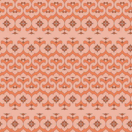 colored seamless pattern in oriental style  in terracotta tones