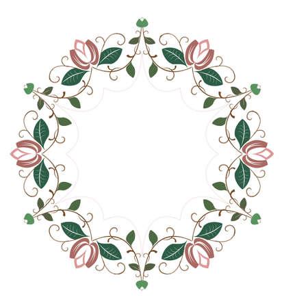 marcos redondos: Marco redondo decorativo con elementos florales Vectores