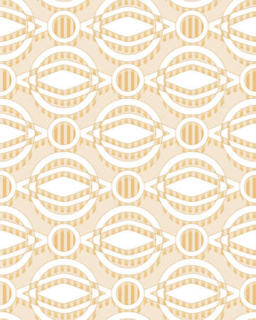 abstract geometric seamless vector pattern with rings in golden tones