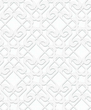 geometric abstract seamless vector volume pattern in white and gray tones Illustration