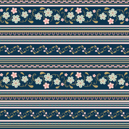 Flower  pattern with horizontal stripes.