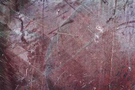 Texture of a red stone surface with cracks and scratches, grunge effect Stock Photo