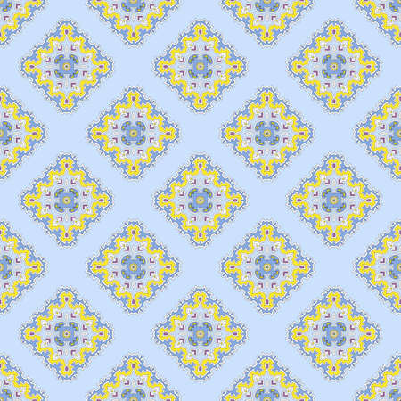delicate seamless vector pattern with rhombuses on a blue background, universal  for printing on textiles, clothes, paper, wallpaper Illustration