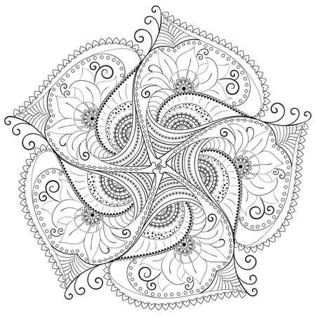 Teste padrão floral circular. Ilustración de vector