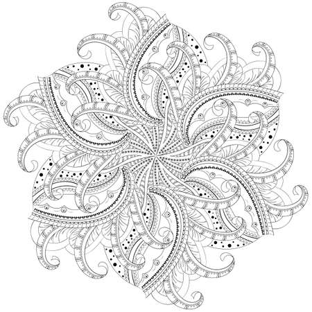 circular floral monochrome pattern with six motifs, for coloring book. Vector illustration