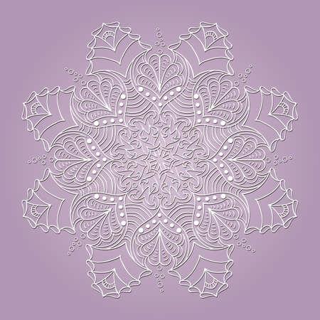 White delicate mandala with sea elements