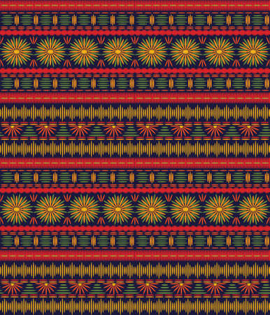 Seamless ethnic pattern with bright embroidered horizontal stripes on a dark background. Illustration