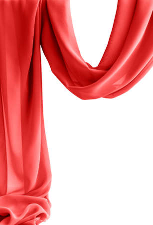 red transparent fabric isolated on white background
