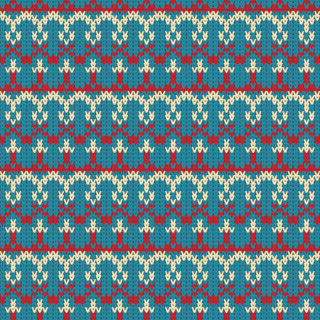 Knitted seamless vector colorful pattern, warm background