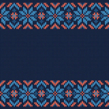 knitted seamless vector pattern with border on a dark blue background Stock Illustratie