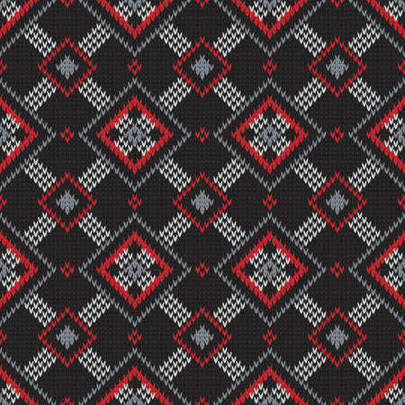 knitted seamless geometric pattern with rhombuses on a dark background Foto de archivo - 106930020