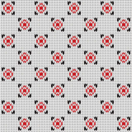 knitted seamless geometric  pattern with alternating squares on a white background