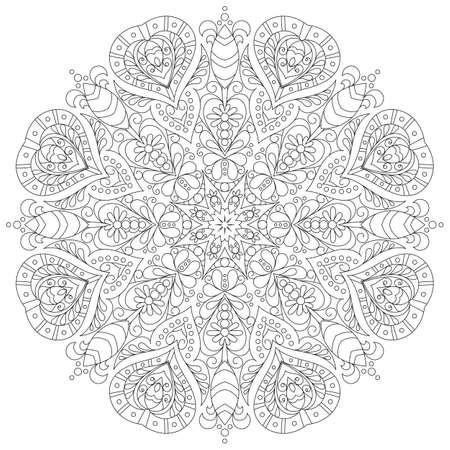 mandala monochrome pour cahier de coloriage