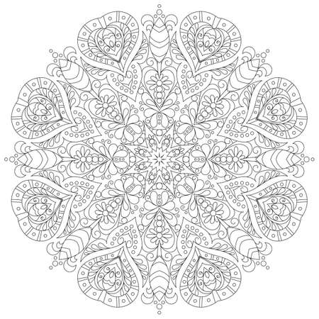 monochrome mandala for coloring book Standard-Bild - 112265732