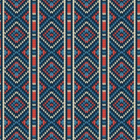 patrón de punto sin costuras con rombos abigarrados y rayas verticales Ilustración de vector