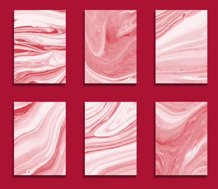 set of red white cards, mix of paints, marble backgrounds for design Illustration