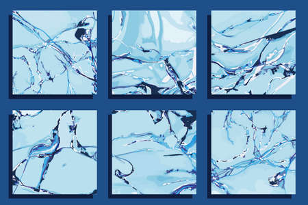 set of blue square backgrounds wiht marble texture