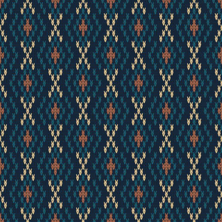 seamless knitted pattern with rhombuses, winter warm background