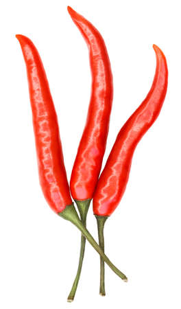three hot chili pepper isolated on white background Banco de Imagens