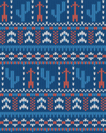 seamless striped vector pattern with tribal motifs, knitted warm background