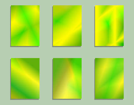 set of bright green yellow holographic cards
