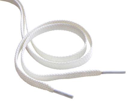 ungebundene weiße Schnürsenkel isoliert auf weißem Hintergrund