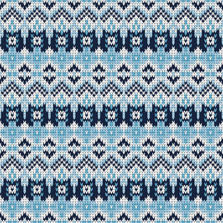 blue seamless knitted pattern with small decorative elements