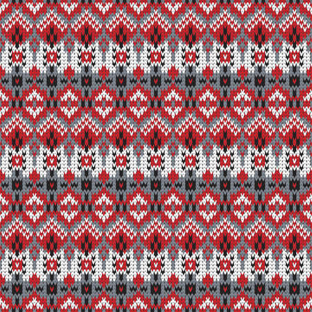 bright seamless knitted pattern in country style with small decorative elements