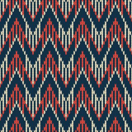 knitted seamless pattern with color zigzag on dark blue background Illusztráció