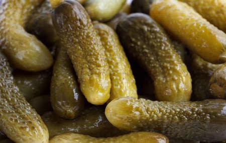 pickled cucumbers gherkins as food background Stock fotó