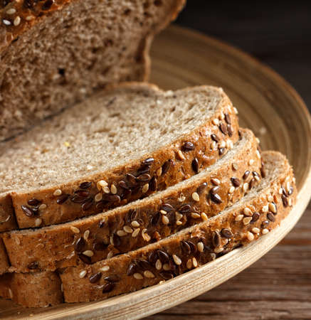 grain bread with flax seeds and sesame